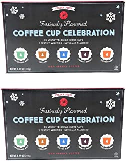 Trader Joes Seasonal Festively Flavored Coffee Cup Celebration 5 Flavor Assortment Bulk Pack of 2 Boxes - 20 K Cups Per Box - 40 K Cups Total - 100% Arabica Coffee In Single Serve Cups
