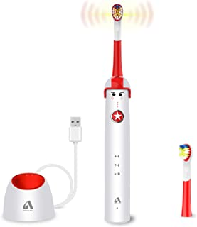 Sonic Electric Toothbrush for Kids and Teenagers, Cartoon Design, Proalpha Wireless USB Fast Charging Waterproof Toothbrush With 2 Reminder Heads, 3 Modes with Timer, Mode Memory(white)