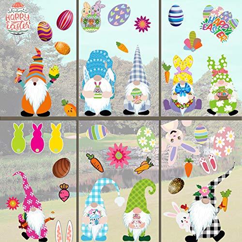 RUIYELE 9 hojas de gnomo de Pascua decoraciones para ventanas, conejo, huevos de Pascua, pegatinas para pared de conejo, pegatinas para puerta de Pascua, decoración de vacaciones para escuela