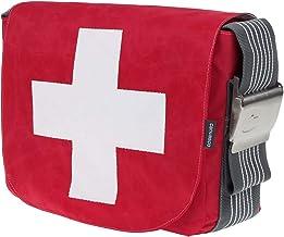 Segeltuchtasche CANVASCO Urban L/Tasche rot/Gurt grau-weiß/Motiv Kreuz weiß