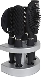 Salon Styler 5 Piece Hair Care Hair Brush Gift Set With Mirror & Stand Black by XS-Stock