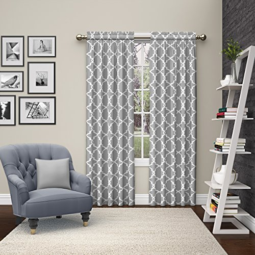 """PAIRS TO GO Vickery Modern Decorative Rod Pocket Window Curtains for Bedroom or Living Room (Double Panel), 28"""" x 84"""", Gray"""