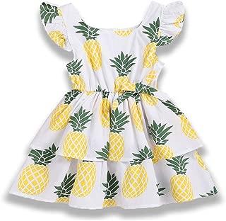 YOUNGER TREE Baby Girl Dress Toddler Girls Summer Overall Ruffle Pineapple Print Dresses Backless Sundress