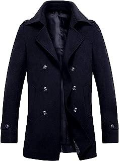 Mens Trench Coat Winter Wool Blend Jacket Overcoat Long Top Coat Warm Pea Coat