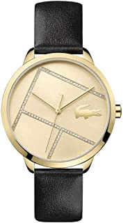 Lacoste 2001096 Strass Embellished Leather Round Analog Water Resistant Watch for Women - Black