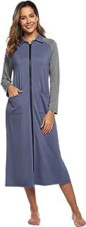 Zexxxy Women Long Robe Soft Kimono Warm Cotton Blend Bathrobe Lounge Robe ZE0042