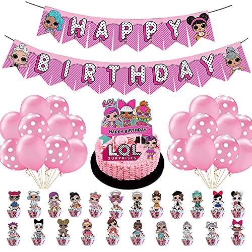 BKJJ LOL Luftballons LOL Geburtstag Dekorationen LOL Party Dekorationen Mädchen Geburtstagsfeier Happy Birthday Banner für Kinder Geburtstag Party Supplies