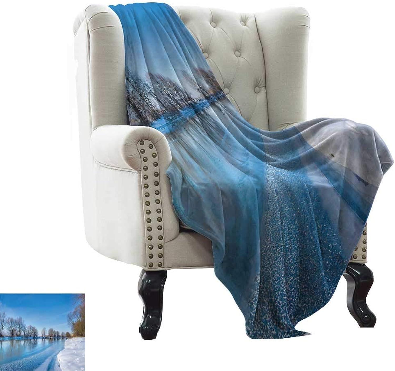 BelleAckerman Baby Blanket Winter,Snow Covered Frozen Winter with Clear Open Sky Photography Seasonal Image Print Soft, Fuzzy, Cozy, Lightweight Blankets 35 x60