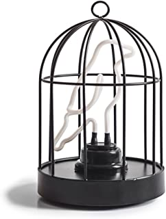 """Suck UK Birdcage Neon Bird in a Cage Lamp-Both USB and Battery Powered 6"""" Light, Multicolor"""