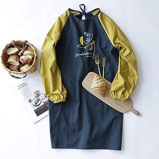 YXDZ YXDZ Baumwolle Wasserdicht Und Ölbeständig Mode Langärmelige Schürze Weibliche Home Kitchen Gown Erwachsenen Mantel Kochen Herbst Und Winter Arbeitskleidung Marineblau 60  90Cm