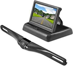 Pyle Backup Rear View Car Camera Monitor Screen System - Parking & Reverse Safety Distance Scale Lines, Waterproof, Night Vision, Pop-up Display, 4.3