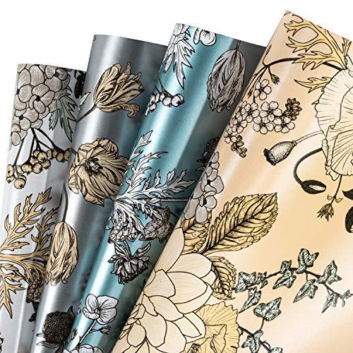 RUSPEPA Geschenkpapierpapier - Vintage Floral Gedruckt Auf Weiß/Silber/Pink/Blau Perlmuttfarbenem Papier, Perfekt Für Geburtstag, Babyparty Geschenkpapier - 4 Gefaltete Blätter - 76cm X 1m Pro Blatt