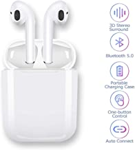 Bluetooth Headset, Wireless Headset Bilateral Call Bluetooth Headset 5.0 in-Ear Earphones Stereo in-Ear Microphone Built-in Handsfree Headphones for Apple Airpods Android/iPhone (White)