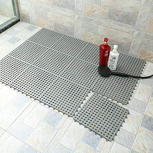 10PCS Interlocking Rubber Floor Tiles with Drain Holes DIY Size Bathroom Shower Toilet Floor Tiles Mat Interlocking Massage Soft Cushion Floor Tiles for Indoor/Outdoor (Grey) -11.8 x 11.8 in