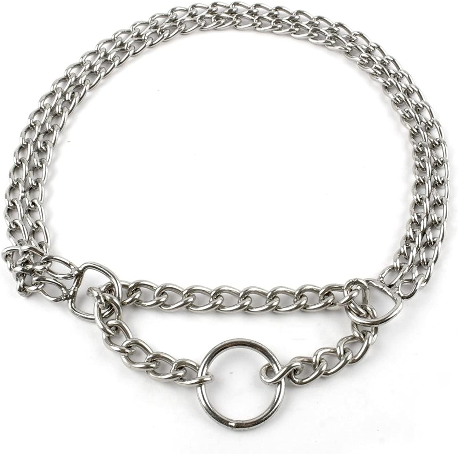 Negly(TM) Metal Stainless Steel Chain Dog Collar Double Row Chrome Plated Choke Training Show Collar Adjustable Safety Control 5 Sizes