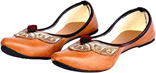 Indian Handicrafts Export Women Leather & Zari Work Brown Ballerina Sandals