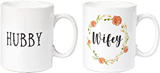 Ceramic Coffee Mug Set, 2-Pack - Wifey and Hubby, Large Stoneware Tea Cup with Floral Design, Novelty Gift for Wedding, Couples, White, 16 Ounces
