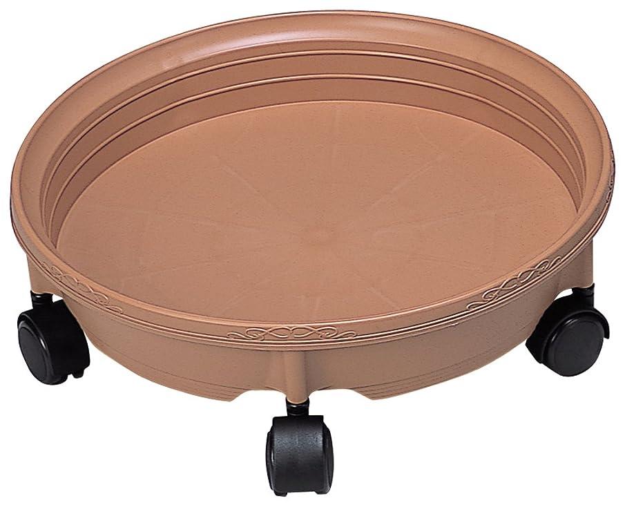 フィッティング改修する石灰岩鉢受プレートキャスター付き 350 2台組 ブラウン hati350-2P-BR
