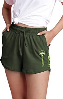 The Souled Store Powerpuff Girls: Don't Call Me Princess Womens and Girls Graphic Printed Cotton Womens Shorts Green