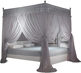 Nattey Gray 4 Post Bed Curtain Canopy Mosquito Netting Bed Canopies Draperies (King, Gray)