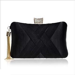 DIEBELLAU Imitation Silk Evening Bag Ladies Banquet Bag Evening Dress Bag (Color : Black, Size : XS)