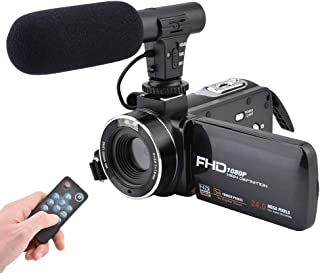 Video Camera Camcorder,CamKing FHD 1080P 24.0MP 16X Digital Video Camera with External Microphone and 3.0 Inch IPS HD Touch Screen Digital Zoom Camera Recorder