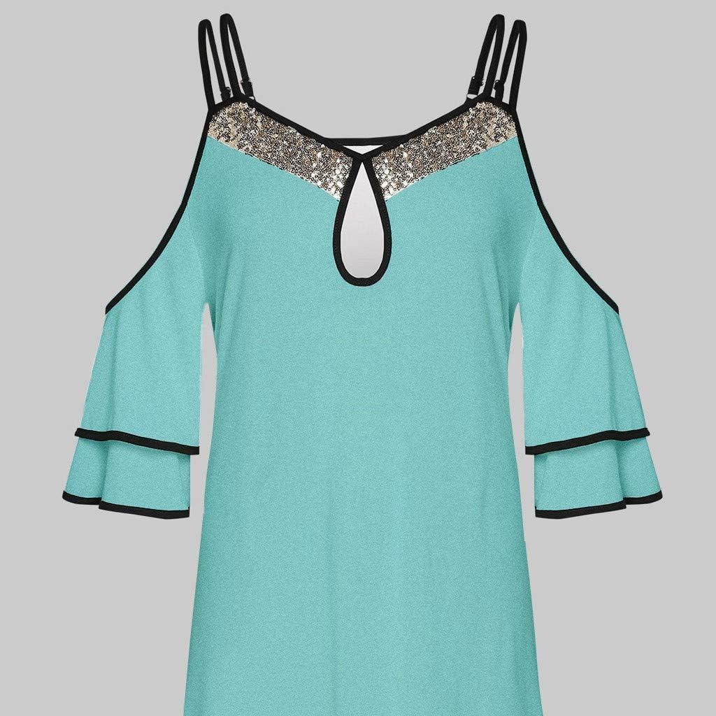 ZEELIY Damen Große Größen Oberteile Sommer Mode Frauen Chiffon Bänder Laterne halbe Hülse Mesh Perspektive Tops F0-grün