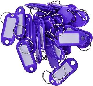 joyMerit 200pcs Violet étiquettes Clés Breloques Identité en Plastique Porte-clés