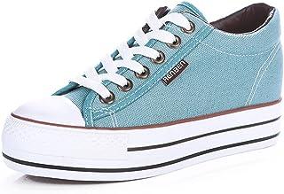 ce420f19 Renben Chicas Mujer Clásico Plataforma Lona Zapatillas Moda Cordón  Espadrilla Zapatos