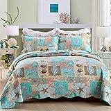 YAYIDAY Baumwoll-Tagesdecken-Set mit Marine-Motiv, atmungsaktive Bettdecke, Gesteppte Decke mit Blumenmuster, Seestern, Korallenmuschel-Druck, Queen