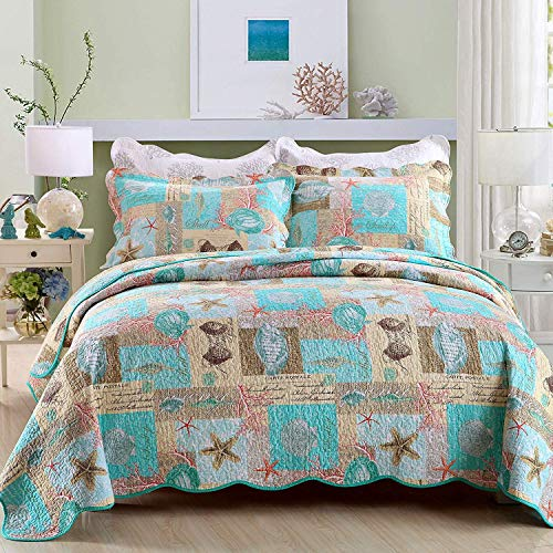 YAYIDAY Cotton Bedspreads Quilt Set Marine Theme - Breathable Bed Blanket - Floral Quilted Coverlet with Shams, Star Fish Coral Shell Print ( Sea Beach King )