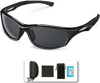 TOQIBO サングラス 偏光レンズ UV400 紫外線・反射光・強光眩しい光・グレアからカット 超軽量フレーム採用 男女兼用 スポーツサングラス ドライブ/野球/自転車/釣り/ランニング/ゴルフ/テニス/運転用 収納ポーチ付き TR90 (ブラック) (ブラック)