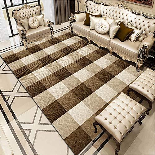DJHWWD Bedroom Carpets For Floor Living room carpet brown modern style square stripe design carpet anti-mite Extra Large Rug Carpet Anti Slip brown 120X160CM
