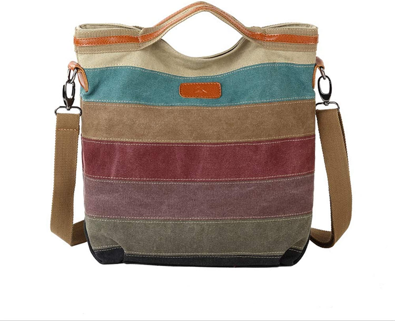 Style Weibliche Tasche Canvas Tasche Kontrastfarbe getäfelten Leinwand Paket Schulter Tasche Umhängetaschen Beutel Beutel der Frauen s B07JYVBBTF  Hat einen langen Ruf