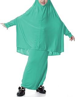 zhbotaolang Summer Two Piece Set Muslim Kids Solid Loose Dress M-XL