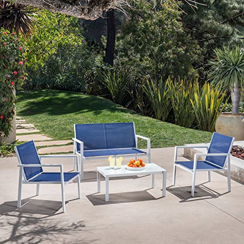 Hanover NAPLES4PC-WN Naples Conversation Set (4 Piece), Navy Blue Outdoor Furniture