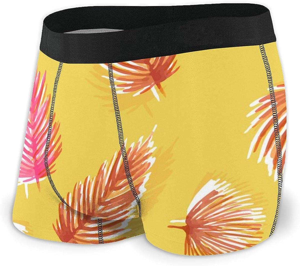 Randolph Wordsworth Mens Boxer Briefs Yellow Palms Leaves, Monstera, Exotic Plants Breathable Underwear