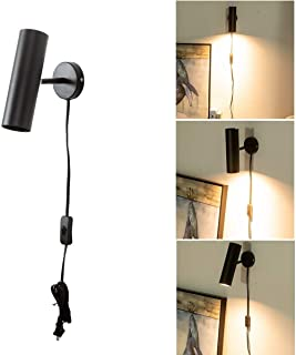 Modern Plug in Wall Sconce, Wall Lamp Lighting Rotatable Matte Black Wall Sconce with Switch for Bedroom, Mirror, Display Spot Light