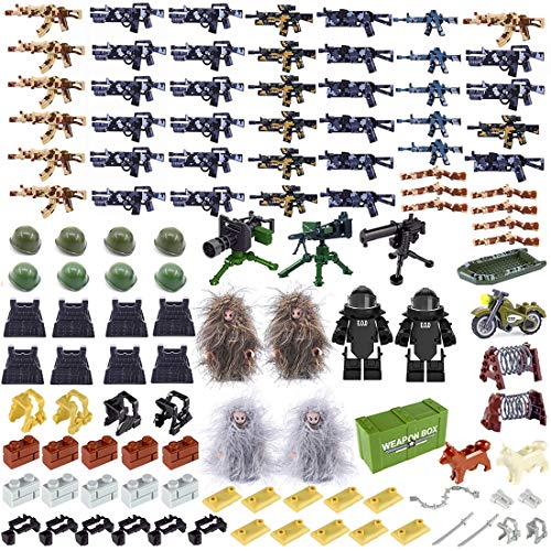 PARIO Custom Helm, Weste und Waffen Set für Soldaten Mini Figuren SWAT Team Polizei, kompatibel mit Lego