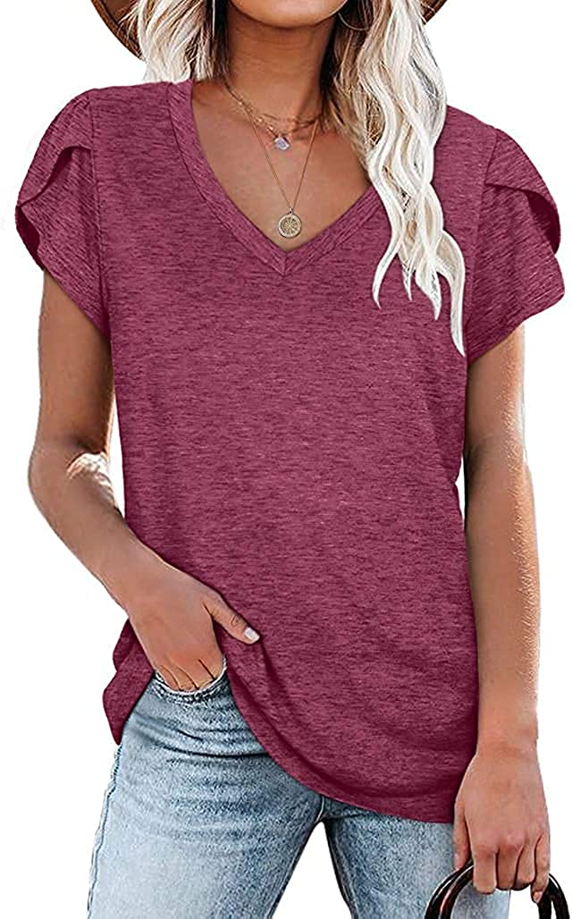 Max 88% OFF Kalssior Womens Tops V Neck Sleeve Special Campaign Tshirts Petal Summer Casual