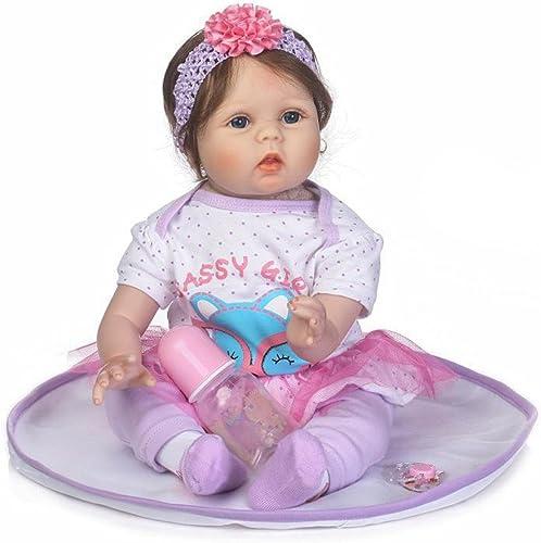 LUCKDE Puppe, Reborn Baby Doll Lebensechte Babypuppen Simulation Silikon mädchen Weißachten Silikonbaby Interactive Puppe, 55cm (5cm, PP)