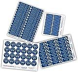 Pack de etiquetas personalizadas para marcar objetos y ropa. 133 pegatinas en vinilo y termoadhesivas para el material escolar o guardería.
