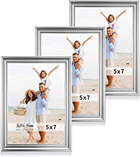 LaVie Home 5x7 Picture Frames(3 Pack, Silver) Single Photo Frame with High Definition Glass for Wall Mount & Table Top Display, Set of 3 Basic Collection