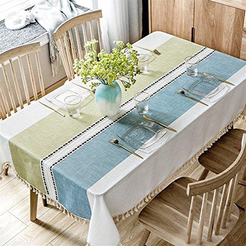 Liveinu Nappe Rectangulaire Style Méditerranéen Tissu de Table Lavable Entretien Facile Résistant Decoration Tapisserie pour Cuisine Jardin Terrasse Balcon 90x140cm Bleu Vert Beige