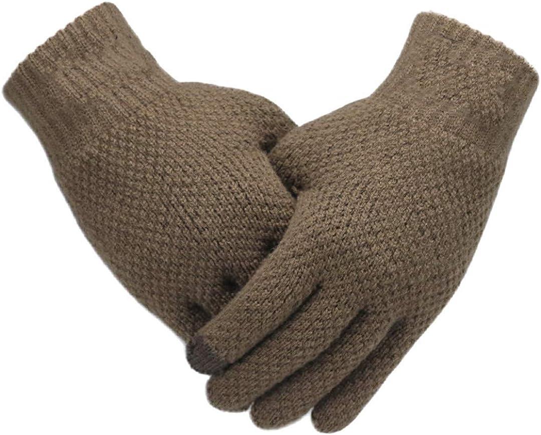 Men Knitted Gloves Touch Screen Mitten Thicken Warm Wool Business Gloves Coffee One Size