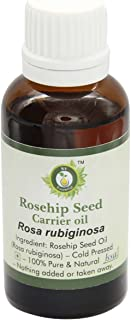 R V Essential Pure Rosehip Seed Carrier Oil 50ml (1.69oz)- Rosa Rubiginosa (100% Pure and Natural Cold Pressed)