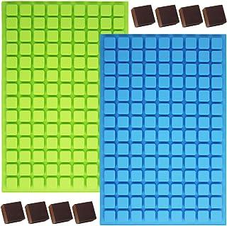 Lot de 2 moules en silicone mini-carrés 126-Cavity, moules à bonbons au chocolat YuCool avec 1 plateau en acier inoxydable...