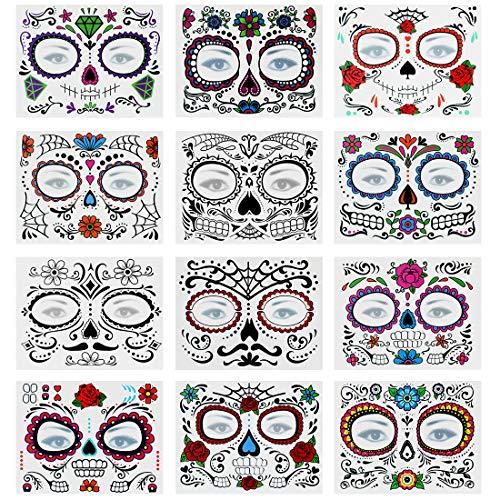 Bluelves Tatuaje Temporal de Cara Halloween, Pegatinas de Maquillaje Facial ,12 Kits Tatuajes Skull Stickers Day of The Dead Makeup, Face Tattoo para Halloween Disfraces y Fiestas