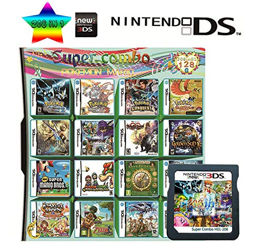 208 in 1 Game Cartridge Multicart, Game Pack Card Super ComboApply to Nintendo DS/NDS/NDSL/NDSi/3DS/2DS XL/LL