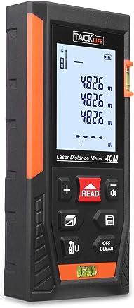 Tacklife HD 40m Telémetro láser con rango distancia de medida 0,05 ~ 40m /±1,5mm, pantalla retroiluminada LCD con 2burbujas de nivel Medidor Láser con función silencio y rápida medición